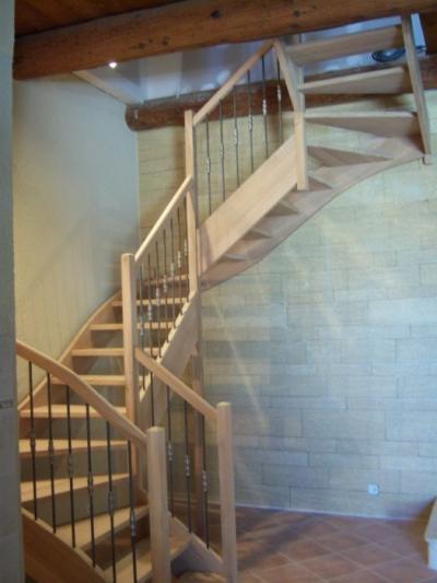escalier 3 quart tournant en chene