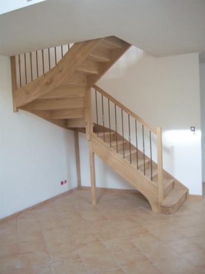 escalier artisanal demi tournant chene