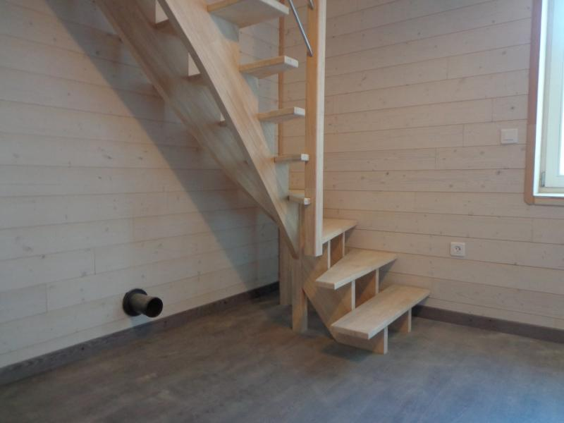 Escalier double limon cr maill re al s gard les angles for Escalier bois double quart tournant