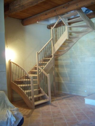escalier quart tournant chene